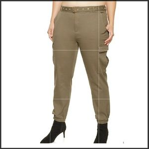 Pants - Plus size belted cargo joggers